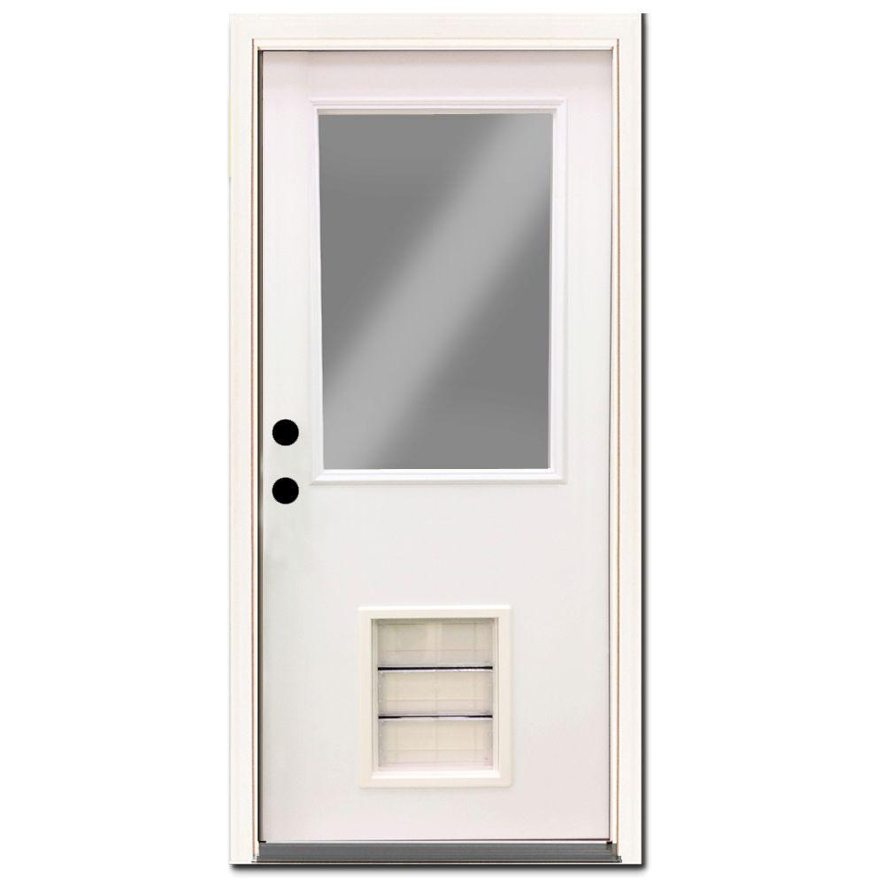 Steves & Sons Premium Half Lite Primed White Steel Entry Door 36 in. Right Hand Inswing with Extra Large Pet Door
