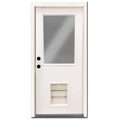 Premium 1/2 Lite Primed White Steel Prehung Front Door with Large Pet Door