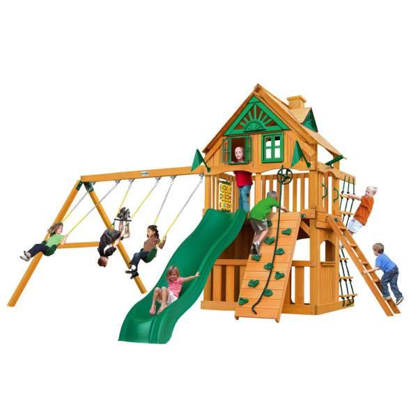 Chateau Clubhouse Treehouse Wooden Swing Set with Rock Wall and Slide