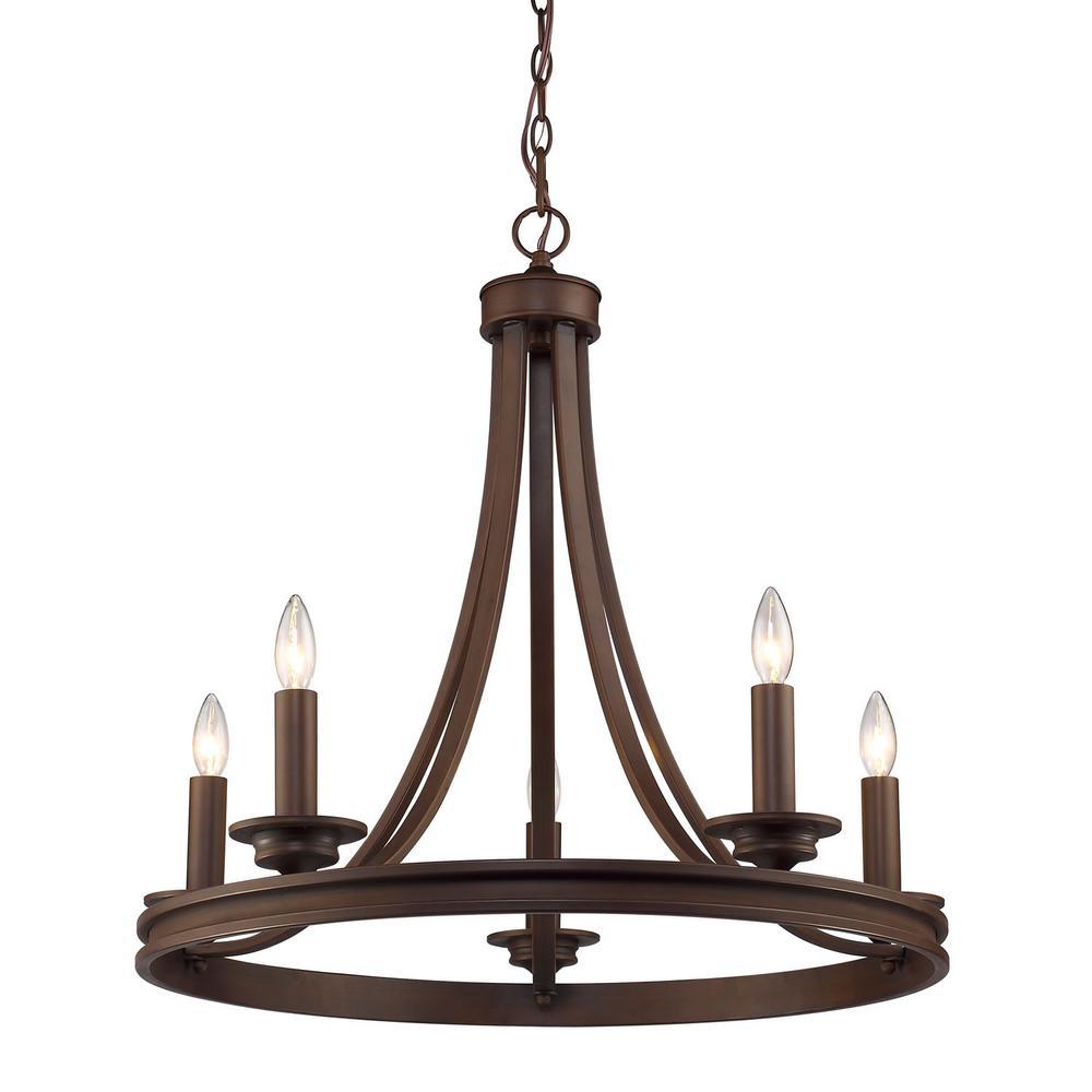 Saldano 5-Light Rubbed Bronze Chandelier