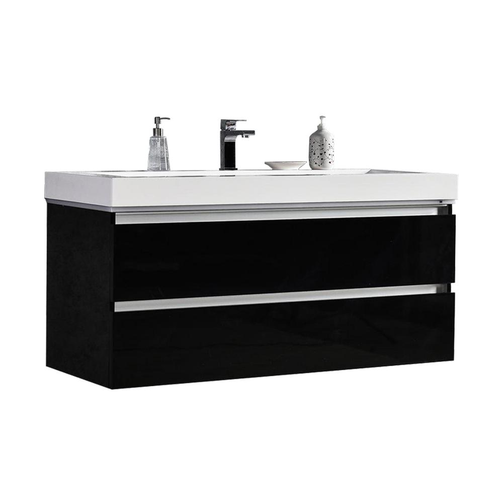 MTD Vanities Maui 48 in. W x 18.5 in. D LED Illuminated Bathroom Vanity in Black with Acrylic Vanity Top in White with White Basin