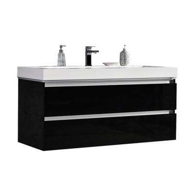 Maui 48 in. W x 18.5 in. D LED Illuminated Bathroom Vanity in Black with Acrylic Vanity Top in White with White Basin