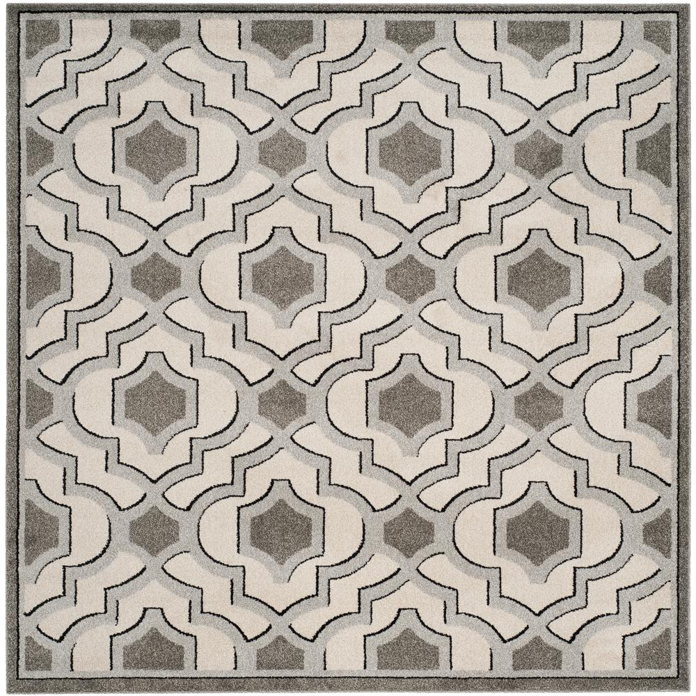 Amherst Ivory/Gray 7 ft. x 7 ft. Indoor/Outdoor Square Area Rug