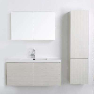 47.2 in. W x 19.5 in. H Bath Vanity in Gray with Resin Vanity Top in White with White Basin and Mirror
