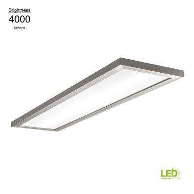 1 ft. x 4 ft. 64-Watt Equivalent Brushed Nickel Selectable LED Flush Mount Rectangle Low Profile Dimmable