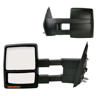 Towing Mirror for 09-12 Ford F150 Extendable with Signal and Puddle Lamp Textured Black Foldaway Pair Heated Power