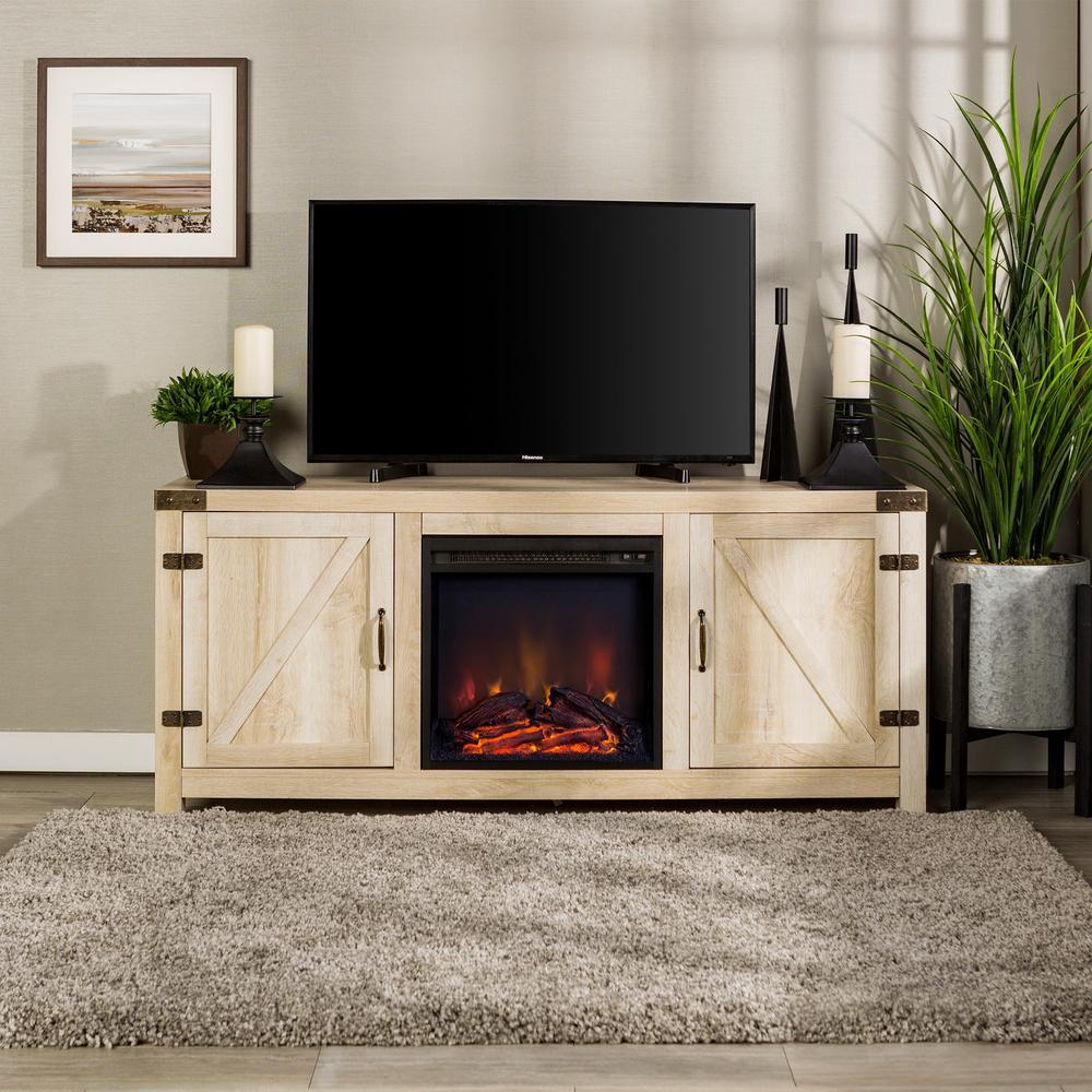 58 in. White Oak Barn Door Fireplace TV Stand