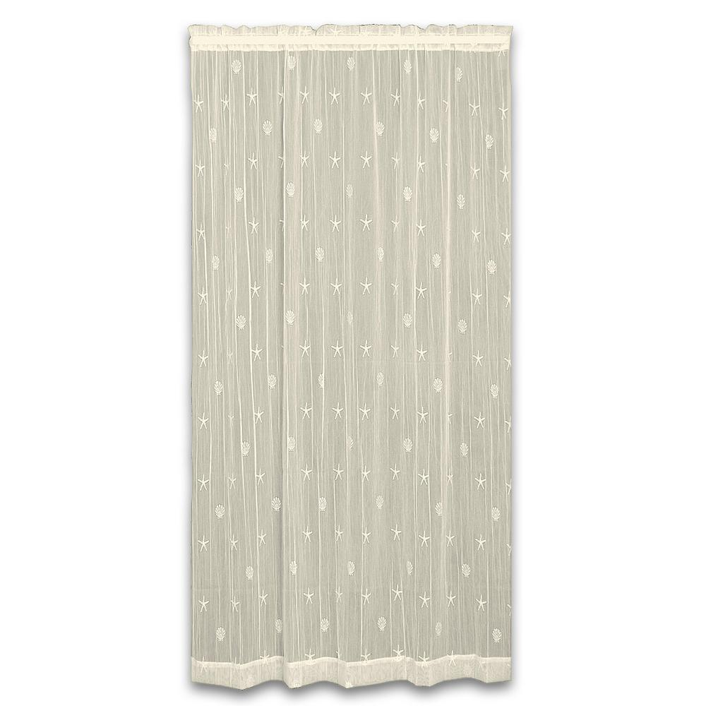 W X 96 In L Sand Shell Polyester Ecru Lace Curtain
