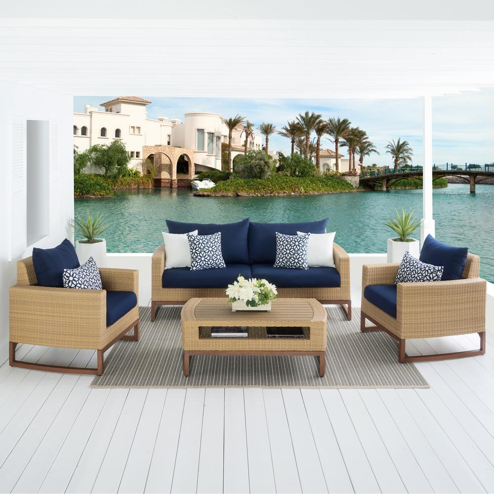 Mili 4-Piece Wicker Patio Conversation Deep Seating Set with Sunbrella Navy Blue Cushions