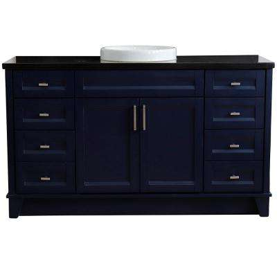61 in. W x 22 in. D Single Bath Vanity in Blue with Granite Vanity Top in Black Galaxy with White Round Basin