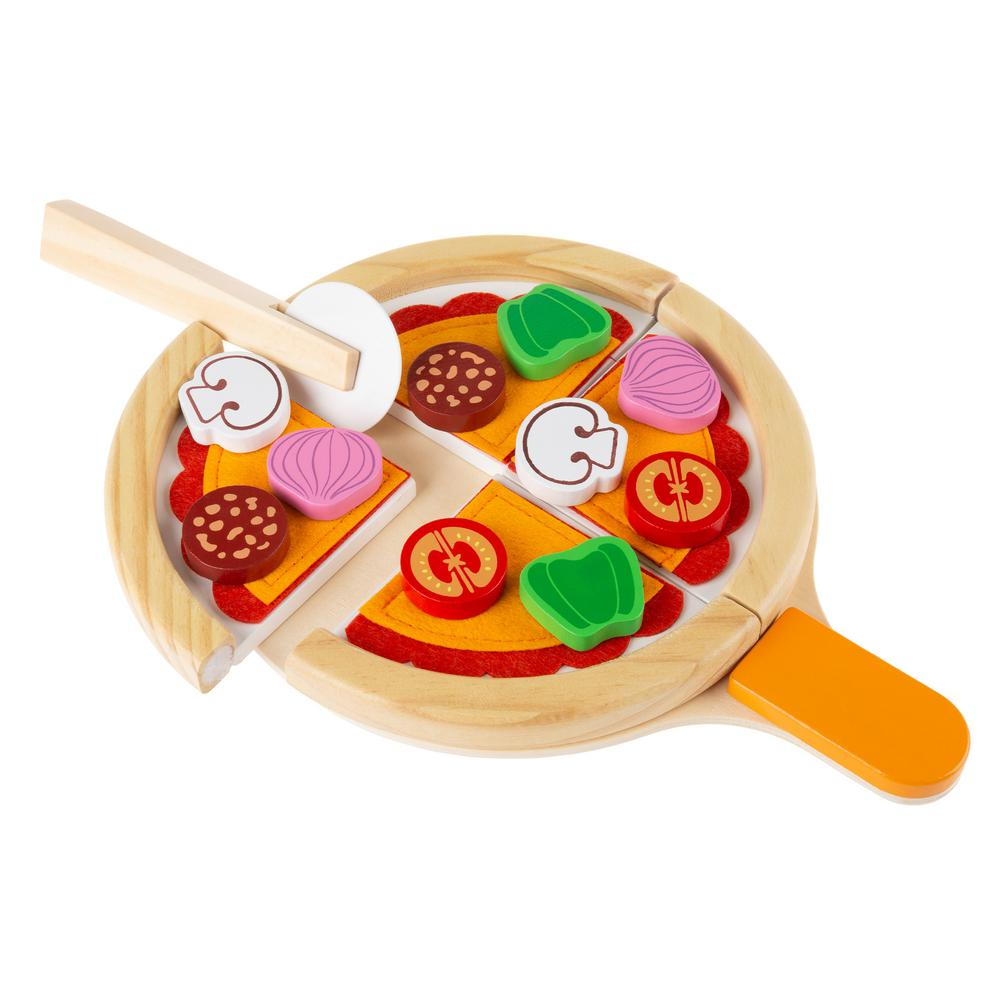 hey! play! wooden pretend play toy pizza set