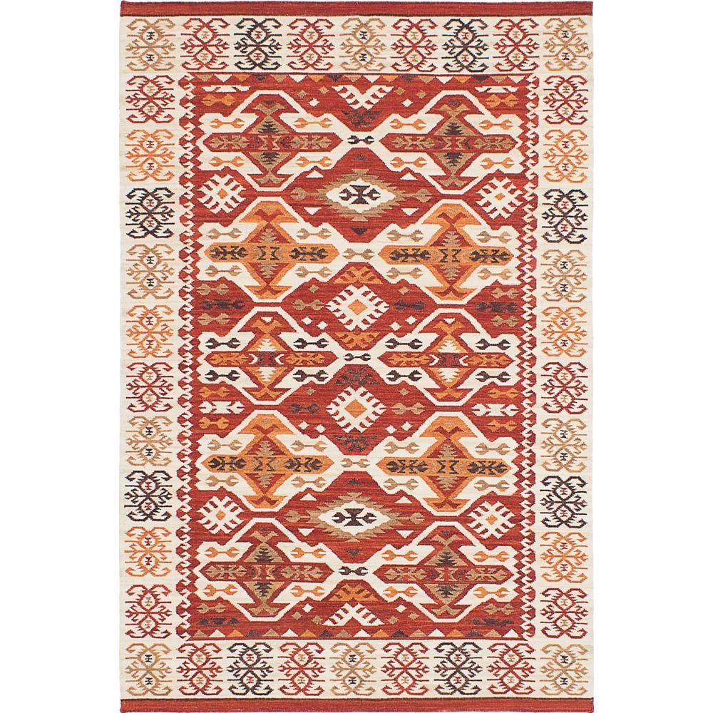 ECarpet Gallery Antalya Cream, Dark Burgundy Wool Kilim 8