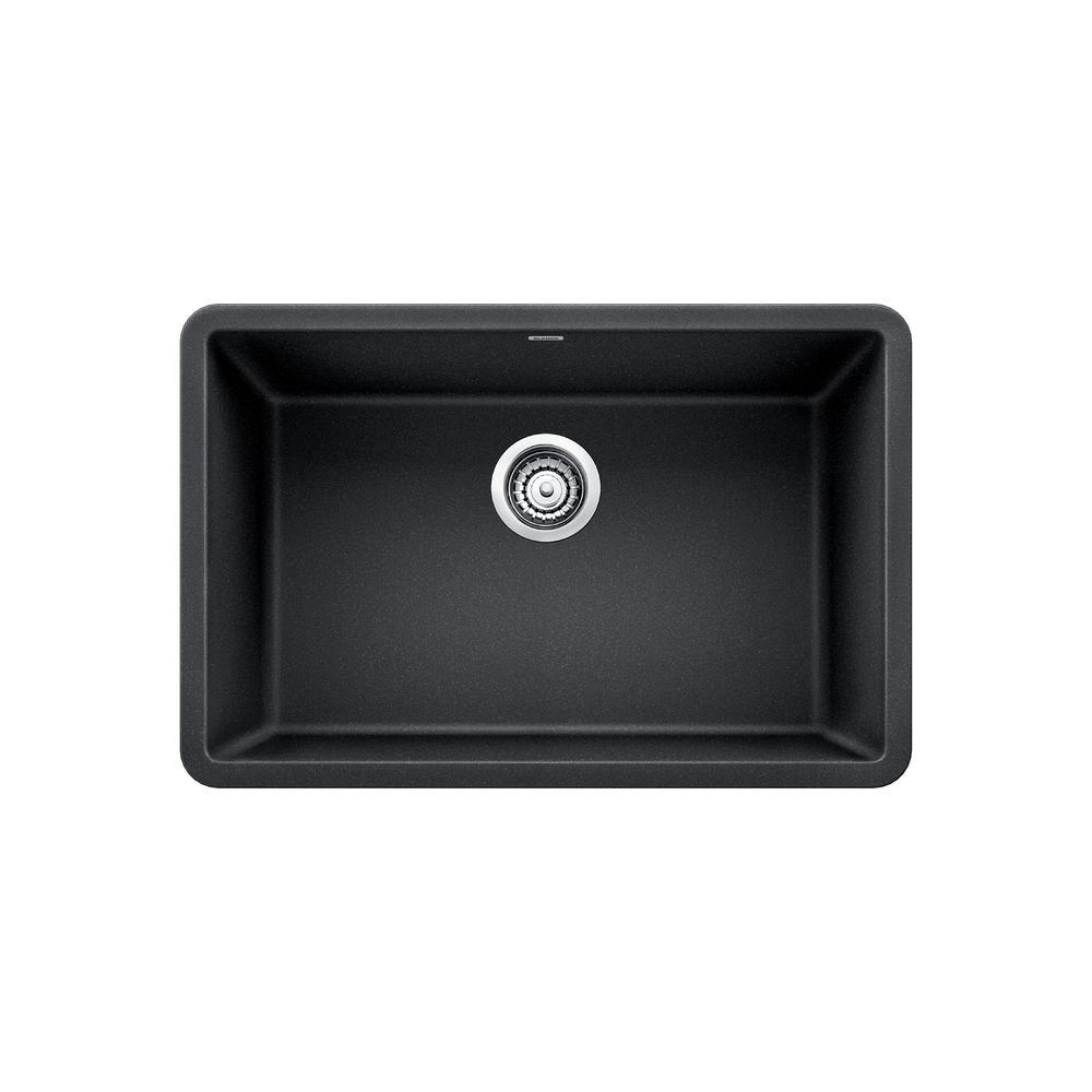 blanco precis undermount granite composite 27 in single bowl kitchen sink in anthracite