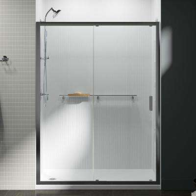 Aerie 60 in. x 75 in. Frameless Sliding Shower Door in Bright Polished Silver with Handle