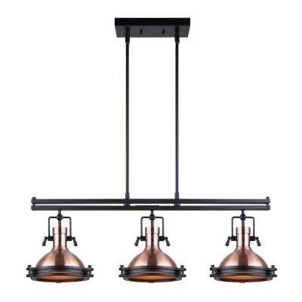 Rosa 3-Light Bronze and Matte Black Pendant