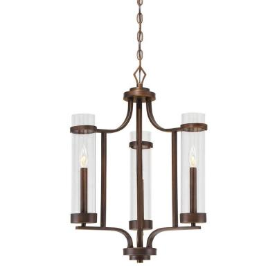 Milan Collection 3-Light Rubbed Bronze Chandelier with Clear Glass