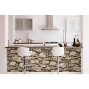 NuWallpaper Brown Hadrian Stone Wall Peel and Stick Wallpaper by NuWallpaper