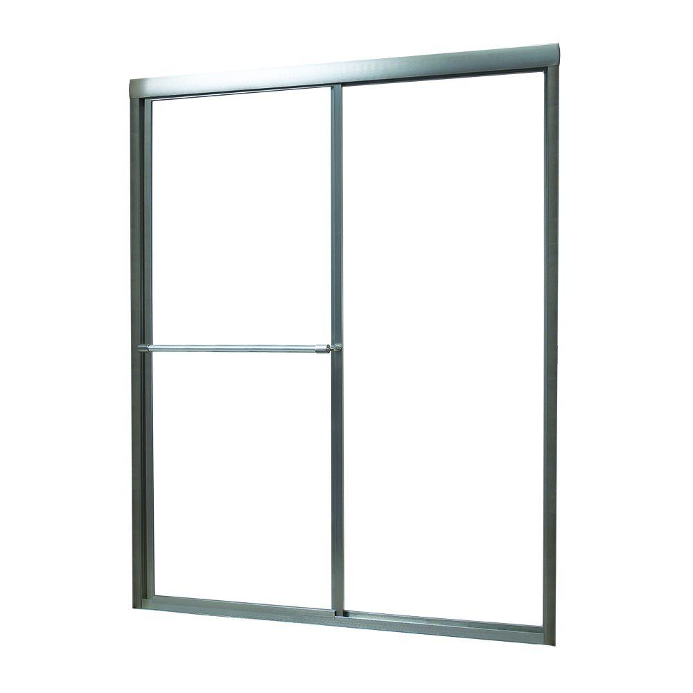 Foremost Tides 52 in. to 56 in. x 70 in. Framed Sliding Bypass Shower Door in Brushed Nickel and Rain Glass