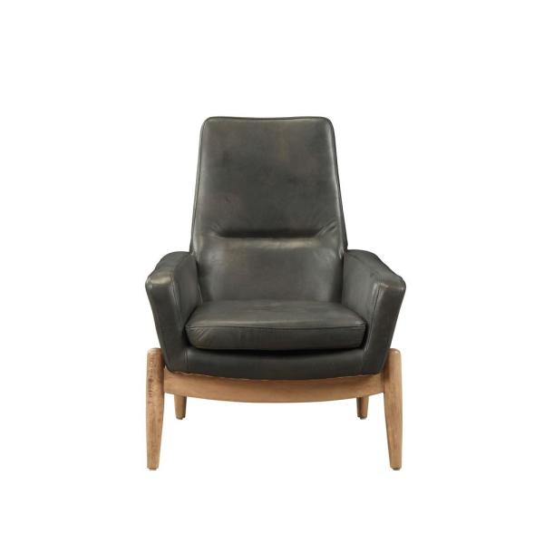 Acme Furniture Dolphin Black Top Grain Leather Accent Chair