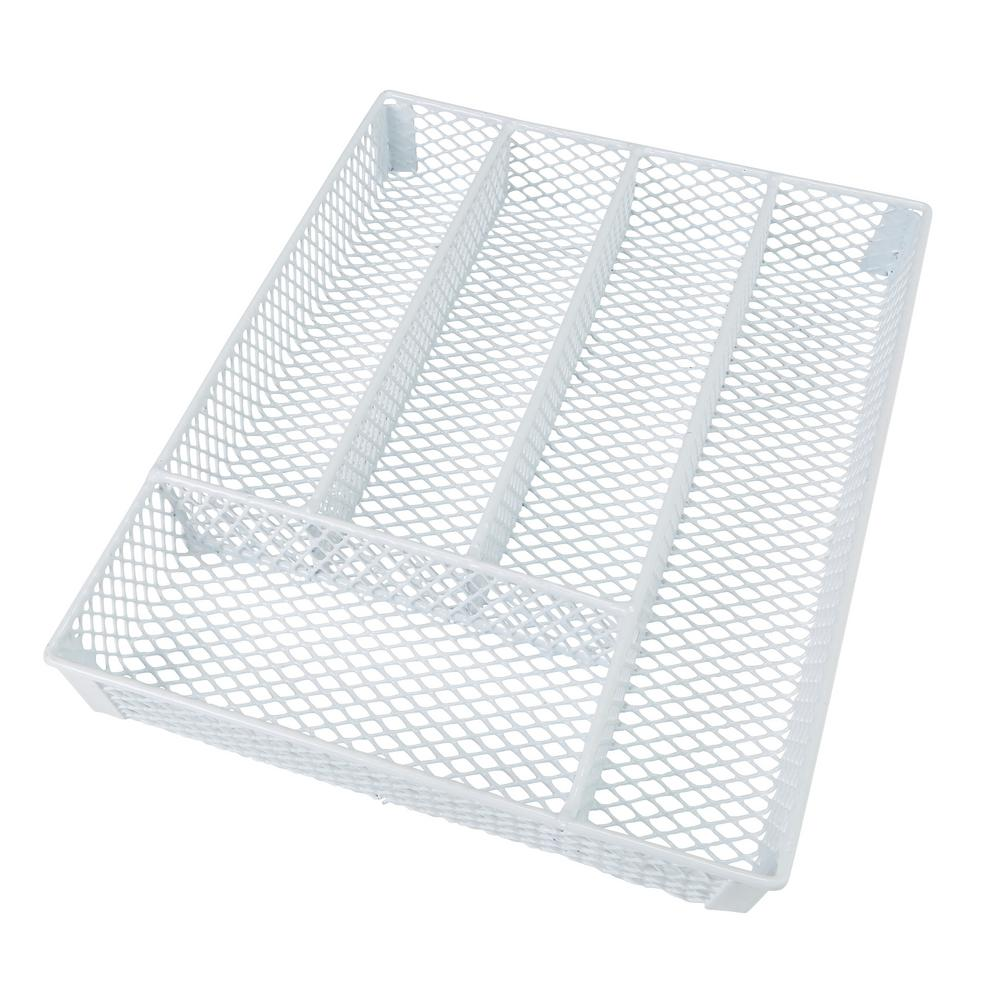 Kitchen Details Small Cutlery White Tray This Kitchen Details Cutlery Tray is a simple and efficient kitchen storage item. Keep all of your utensils organized and handy when needed. Fit is in most drawers and has a lightweight design making it easy to move. Five Compartments hold variety of cutlery and protects them from damage. Color: White.