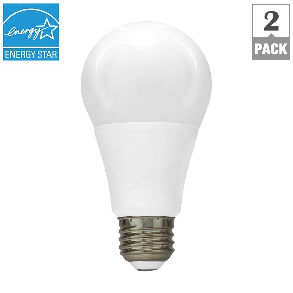 60W Equivalent Cool White A19 Dimmable LED Light Bulb (2-Pack)