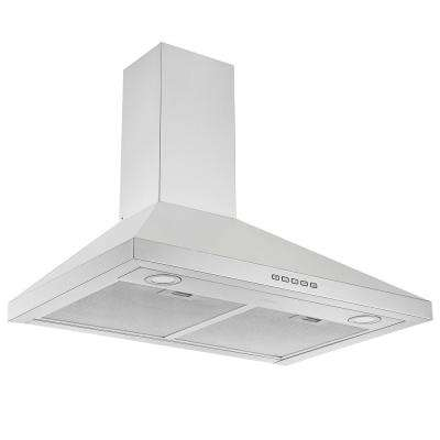 30 in. 600 CFM Convertible Wall Mount Pyramid Range Hood with LED Lights in Stainless Steel