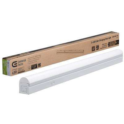 2 ft. 17-Watt Equivalent Integrated LED White Strip Light Linkable Plug-in/Direct Wire 900 Lumens Multi Color Changing