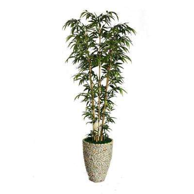86 in. Tall Natural Bamboo Tree in 16 in. Fiberstone Planter