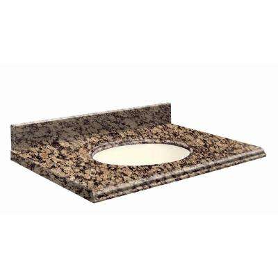 25 in. W x 19 in. D Granite Vanity Top in Baltic Brown with Biscuit Basin