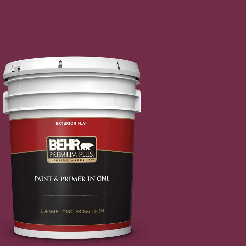 Behr Premium Plus 5 Gal Icc 110 Vintage Merlot Flat Exterior Paint And Primer In One 430005 The Home Depot