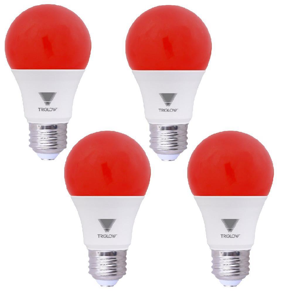 60-Watt Equivalent A19 E26 Standard Medium Base LED Light Bulb, Red (4-Pack)