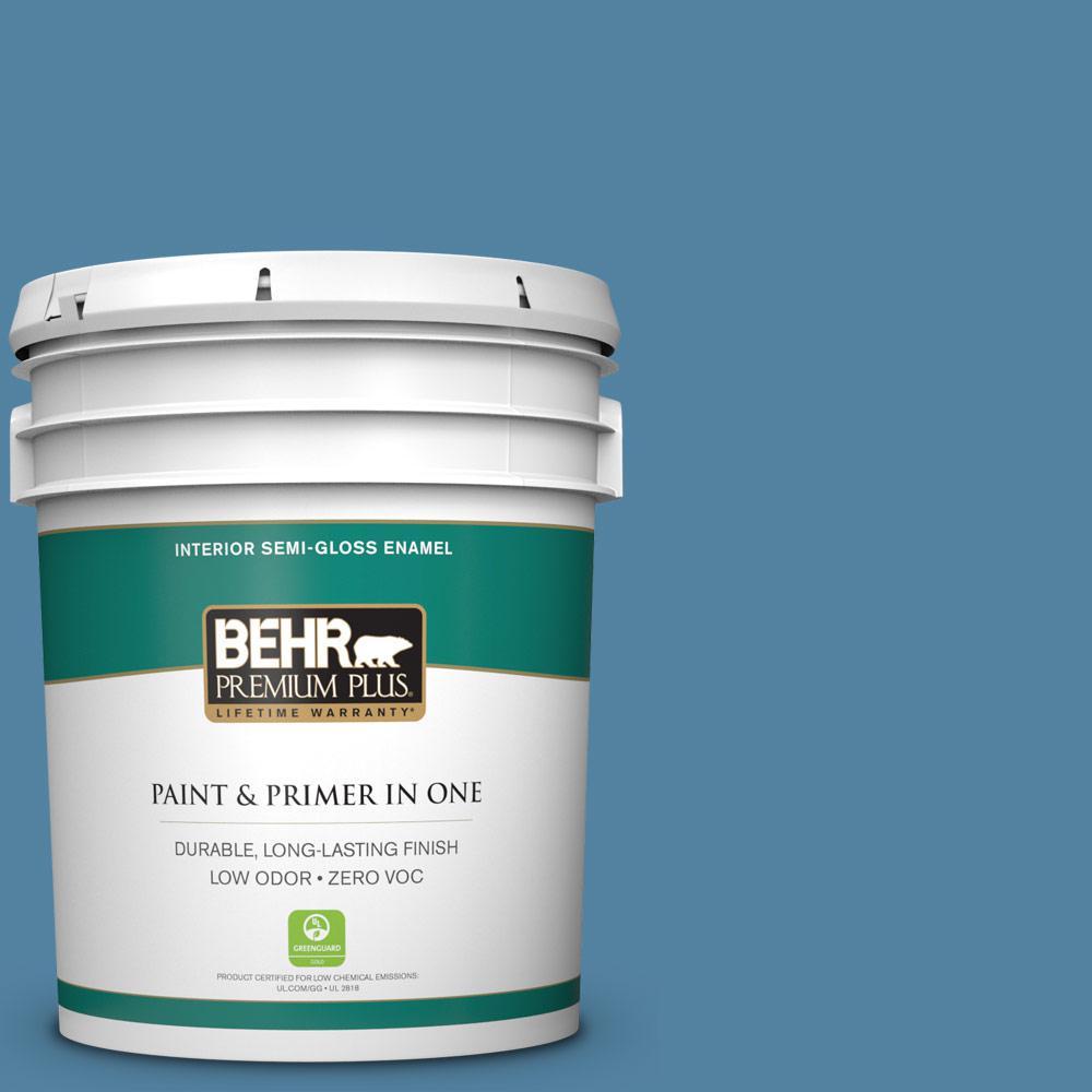 5-gal. #BIC-38 Honest Blue Semi-Gloss Enamel Interior Paint