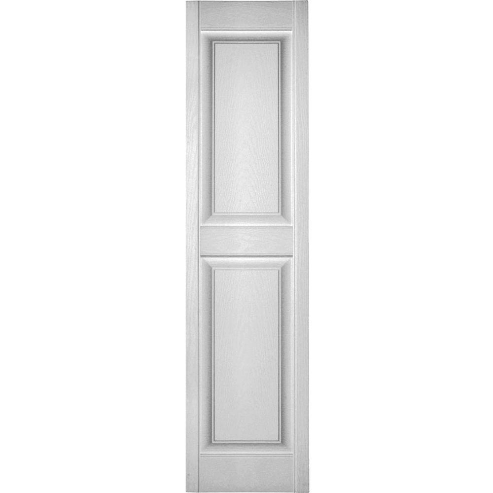 Ekena Millwork 14 1 2 In X 85 In Lifetime Vinyl Custom 2 Equal Raised Panel Shutters Pair White Lp2c14x08500wh The Home Depot