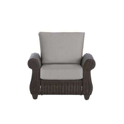 Mill Valley Brown Wicker Outdoor Patio Lounge Chair with CushionGuard Stone Gray Cushions