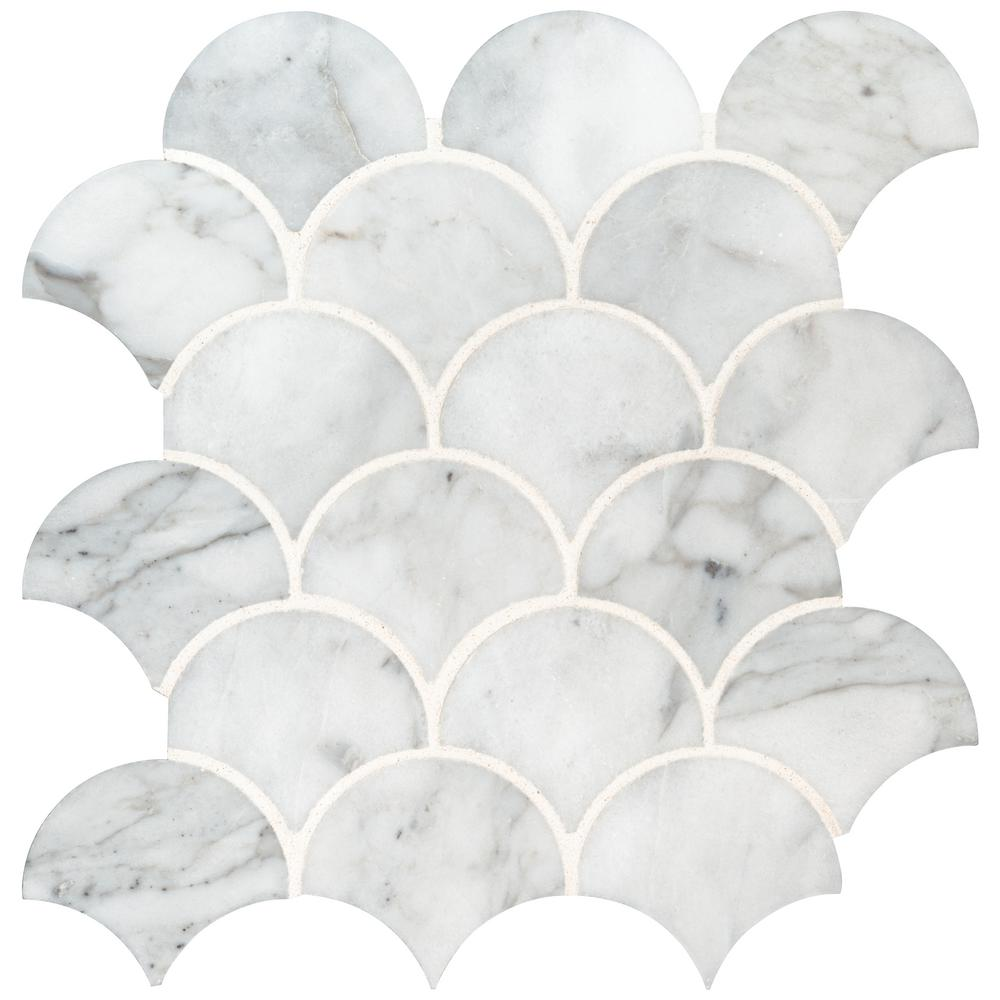 Msi Calacatta Blanco Scallop 12 8 In X 10 43 10mm Polished Marble Mesh Mounted Mosaic Tile