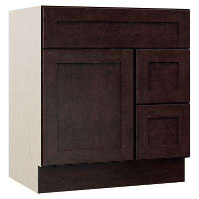 Stirling 30 in. W x 21.5 in. D x 33.5 in. H Bath Vanity Cabinet Only with Drawers on Right in Java