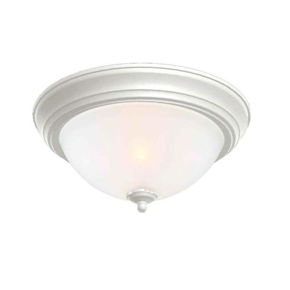 commercial electric 2 light white flushmount with twin