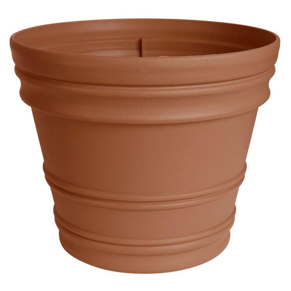 Rolled Rim 16 in. Terra Cotta Plastic Planter