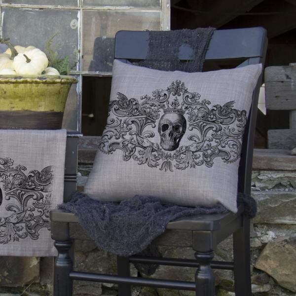 Heritage Lace Gothic Gray Skull Decorative Pillow Go1818gy