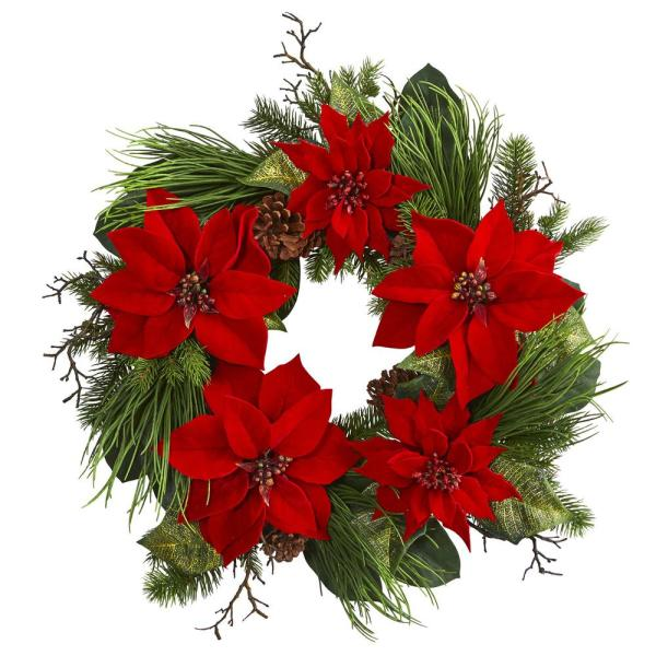 28 in. Poinsettia and Pine Wreath