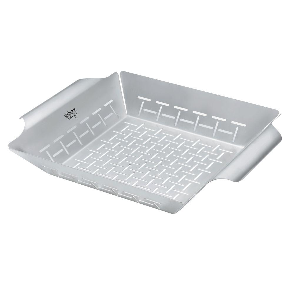 Stainless Steel Grill Basket Grill vegetables, fruits and breads with ease in the Weber Stainless Steel Grilling Basket. It's constructed of 430-grade stainless steel for exceptional heat retention. It features slits to enable the juices to flow out and let your food breath.