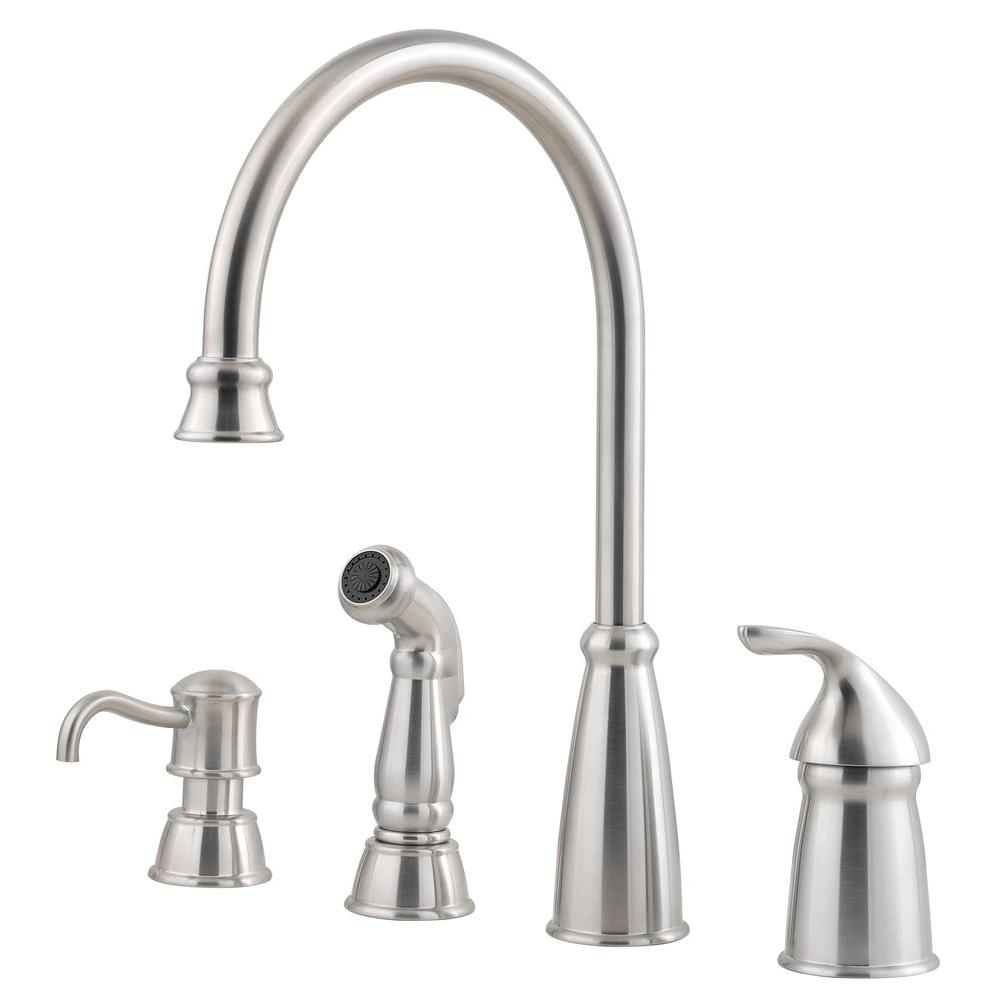 Pfister Avalon Single Handle Standard Kitchen Faucet With Side Sprayer And  Soap Dispenser In Stainless Steel F 026 4CBS   The Home Depot