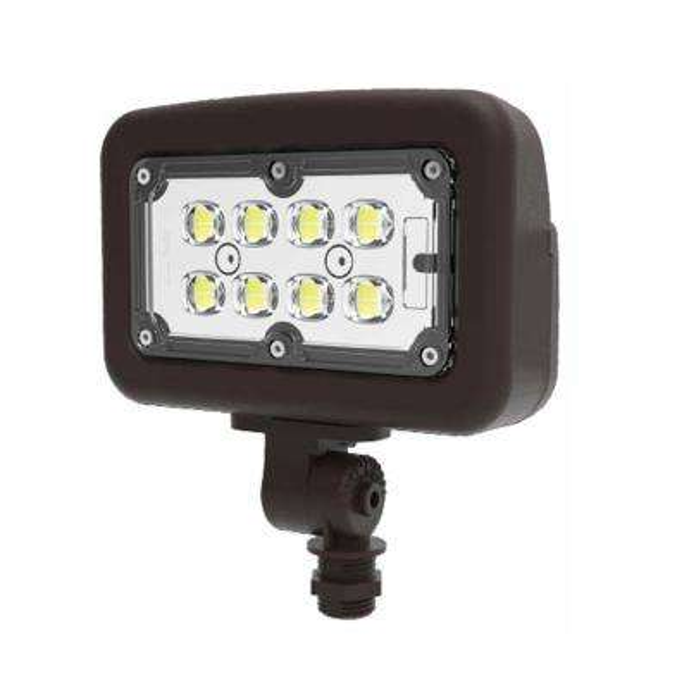 30-Watt 120-277-Volt Knuckle Line Voltage Bronze Outdoor Integrated LED Medium Landscape Flood Light, Selectable Color