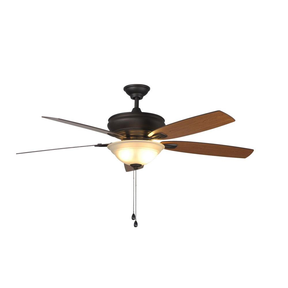 Hampton Bay Trafton 60 in. Indoor Oil-Rubbed Bronze Ceiling Fan with Light Kit