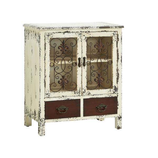 Powell Company Voigt Antiqued White and Red Console Accent Cabinet HD1269A19
