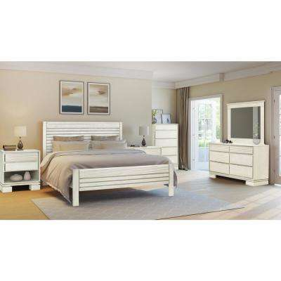 Vienna Off White King Platform Bed Frame