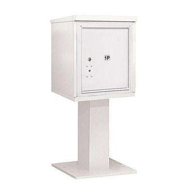 3400 Series 48-1/8 in. 5 Door High Unit White 4C Pedestal Mailbox with 1 PL5 Parcel Locker