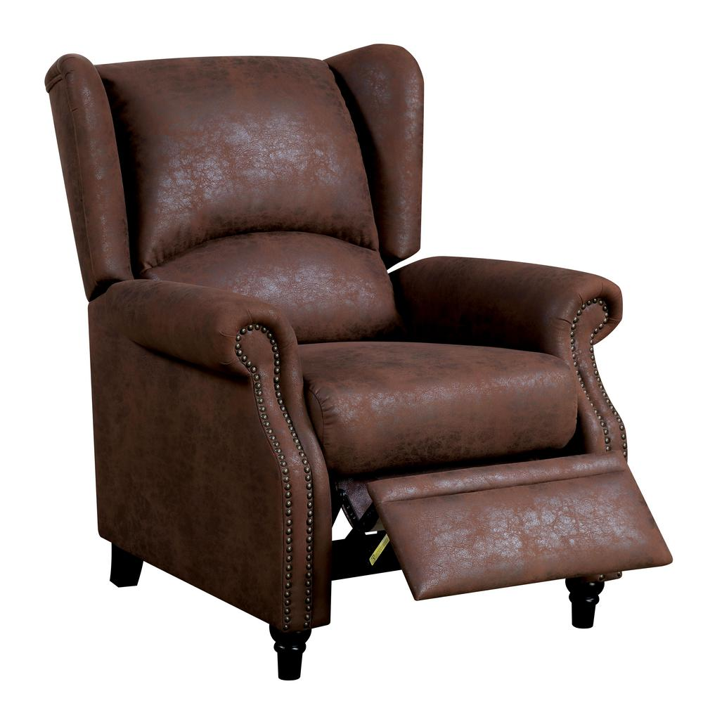 Delicieux Furniture Of America Marta Brown Wingback Push Back Recliner Chair