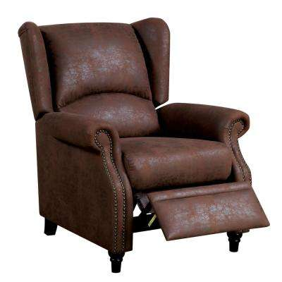 Marta Brown Wingback Push Back Recliner Chair