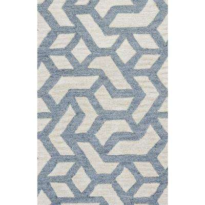 Caterine Blue Geometric 8 ft. x 10 ft. Area Rug